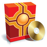Box and CD. Red blank 3d box with CD, vector Royalty Free Stock Image
