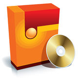 Box and CD vector. Red blank 3d box with CD, vector, ready to use in your designs Royalty Free Stock Image