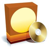 Box and CD vector. Red blank 3d box with CD, ready to use, vector Royalty Free Stock Photos