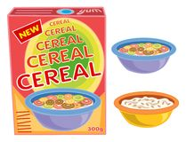 Box, cereal, bowl, porridge. Breakfast cereal box, bowl and porridge - cartoon illustration Stock Photo