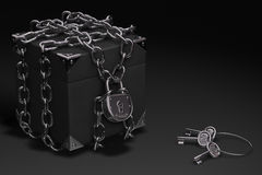 Box, Chain and Padlock. In steel chrome highly resistant. Symbolizes safety and resistance Stock Images