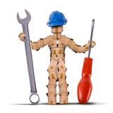 Box character builder holding tools. Box character digital character workman with hard hat and holding a large spanner and screwdriver tool. Worker and tool Royalty Free Stock Photo