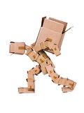 Box character hauling large box Royalty Free Stock Images