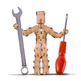 Box character holding tools. Box character digital character workman holding a large spanner and screwdriver tool. Work and tool isolated concept artwork on a Stock Photography