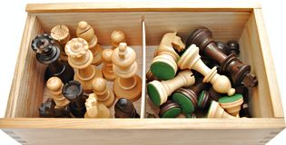 Box of chess pieces Royalty Free Stock Photo
