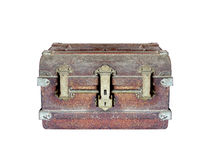 Box chest is rust for vintage on white Stock Photography