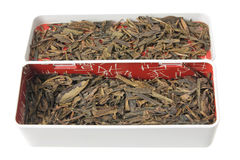 Box of Chinese Tea Leaves Stock Photo
