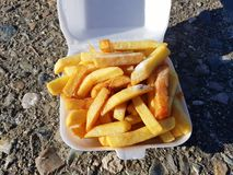 Chips on a Bristish summers day royalty free stock photos