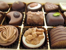 Box of chocolate. Box of mixed swiss chocolate Royalty Free Stock Photography