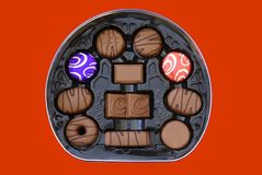Box of chocolate and biscuit chocolate cookies. Stock Photography