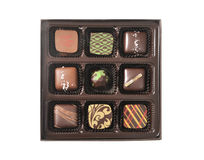 Box of chocolate candies Stock Photos