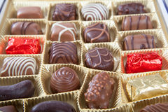 Box of chocolate candies Royalty Free Stock Images