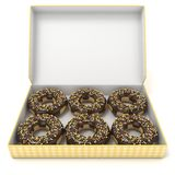 Box of chocolate donuts. Front view. 3D render. Illustration. on white background Royalty Free Stock Images