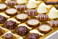Box of chocolate pralines Royalty Free Stock Image
