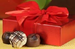 Box of chocolates. Romantic gift of boxed chocolates royalty free stock photos