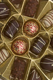Box of chocolates. Closeup on a box of chocolates in gold colored tray Royalty Free Stock Photo