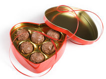 Box of Chocolates. Heart shaped chocolates on white background Royalty Free Stock Images