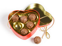 Box of Chocolates. Heart shaped chocolates on white background Royalty Free Stock Photography