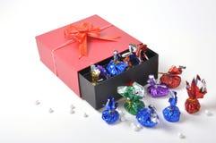 Box of chocolates. Romantic gift of boxed chocolates royalty free stock photo