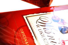 Box of chocolates. With cherry liquor royalty free stock photo
