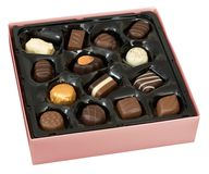 Box of chocolates. Box of Belgian chocolates isolated on white Royalty Free Stock Photos