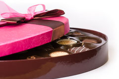 Box of chocolates. Luxury chocolates tied with a pink ribbon Royalty Free Stock Image