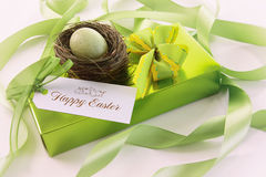 Box of chocolates and card for easter Royalty Free Stock Photo