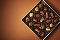 Box Of Chocolates. Closeup view of box of chocolates, view from above royalty free stock photography