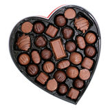 Box of Chocolates in a Heart Shape (8.2mp Image). Heart shaped box of dark and light assorted chocolates. Perfect for Valentine's Day stock photo