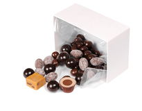 Box with chocolates isolated on white Royalty Free Stock Images