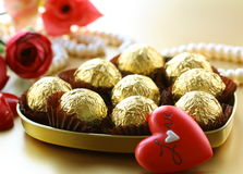 Box of chocolates and pearl Royalty Free Stock Photos