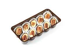 Box of chocolates with walnut Royalty Free Stock Images
