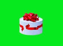 Box of chocolates. White round box with chocolates decorated with red ribbon Stock Photo