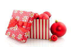 Box with christmas balls Stock Photography