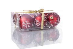 Box with christmas balls Stock Images