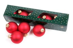Box of Christmas baubles Royalty Free Stock Photography