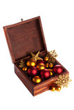 Box with christmas baubles Royalty Free Stock Photos