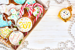 Box with christmas cookies and candy cane Stock Image