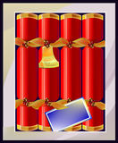 Box of Christmas crackers Royalty Free Stock Images
