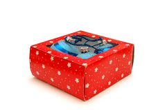 Box with christmas decorations Stock Photo