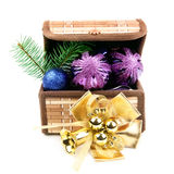 Box with Christmas decorations Stock Photos