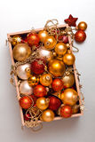 Box of Christmas decorations Royalty Free Stock Photos
