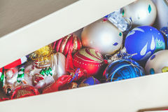 Box with Christmas decorations Royalty Free Stock Images