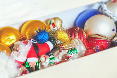 Box with Christmas decorations Stock Photography