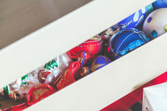 Box with Christmas decorations Royalty Free Stock Photography