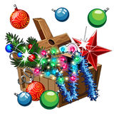Box with Christmas decorations, balls, stars. Tinsel on white background Stock Photo