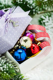 Box of Christmas decorations on snow Stock Photography