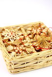 Box and Christmas decorations from straw Stock Images