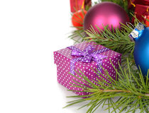 Box and Christmas decorations Stock Photography
