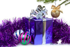 Box with Christmas gift and decorations Stock Photo